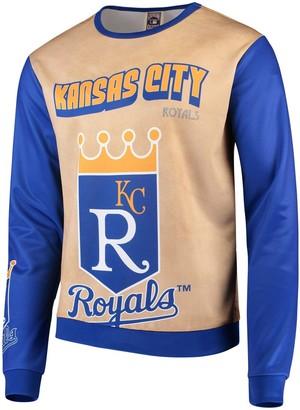 Men's Tan/Royal Kansas City Royals Sublimated Crew Neck Sweater