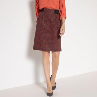 Anne Weyburn Printed Stretch Cotton Satin Pencil Skirt