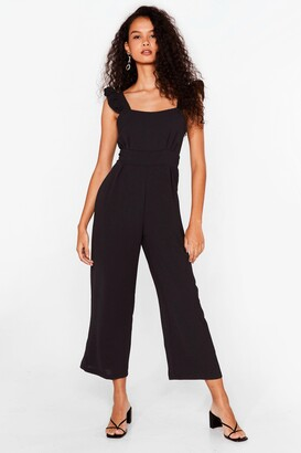 Nasty Gal Womens Back It Up Cropped Ruffle Jumpsuit - Black - S, Black