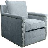 Horchow Avis St. Clair Sky Blue Velvet Swivel Chair