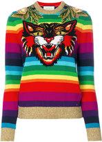Gucci rainbow tiger jumper - women - Polyamide/Wool/Metallic Fibre - S