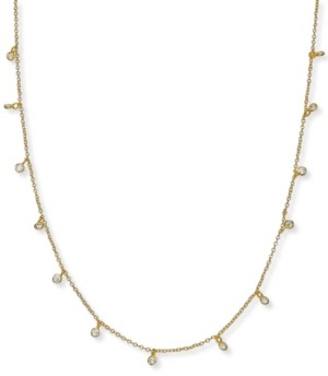 "Giani Bernini Cubic Zirconia Dangle Chain Necklace in Sterling Silver, 16"" + 2"" extender, Created for Macy's"