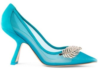 Nicholas Kirkwood Monstera Leaf-Embellished Suede & Mesh Pumps