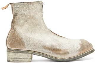 Guidi Distressed Zip-front Leather Boots - Light Grey