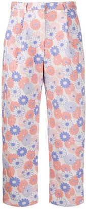 Kenzo Floral Embroidered Cropped Trousers