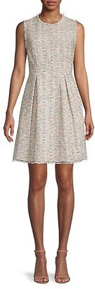 Rebecca Taylor Pleated Tweed Cotton-Blend Mini Dress