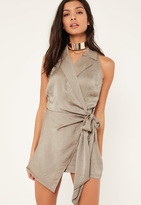 Missguided Taupe Sleeveless Knot Front Wrap Silky Shirt Playsuit