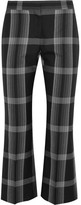 Alexander McQueen Cropped Checked Silk And Wool-blend Flared Pants - Black