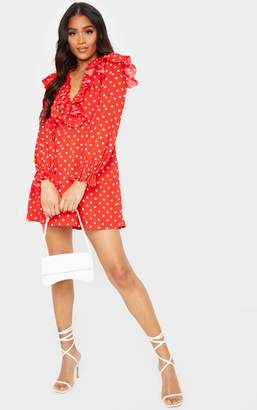 PrettyLittleThing Red Polka Dot Frill Detail V Neck Shift Dress