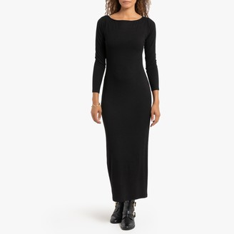 La Redoute Collections Ribbed Midi Bodycon Dress with Long Sleeves