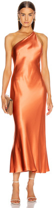 Galvan Silk Cropped Roxy Dress in Apricot | FWRD