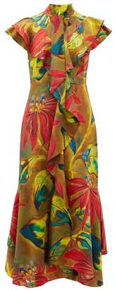 Peter Pilotto Tropical-print Silk-blend Cloque Midi Dress - Womens - Green Multi