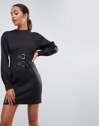 Asos Mini Column Dress with Balloon Sleeves and Buckle Details