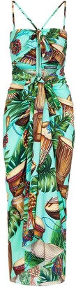Dolce & Gabbana Tropical Print Fitted Dress