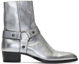 Saint Laurent Silver Wyatt Harness Boots