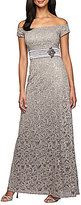 Alex Evenings Off-the-Shoulder Lace Gown