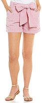 Lauren James Seersucker Bow-Front Shorts