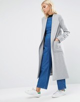 Helene Berman Drapey Longline Jacket In Pale Gray