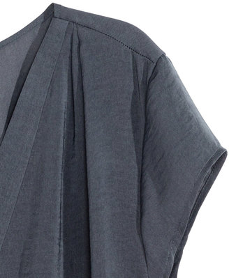 H&M V-neck Satin Blouse - Dark gray - Ladies