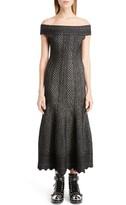 Alexander McQueen Women's Off The Shoulder Bicolor Jacquard Dress