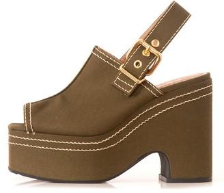 Marni Canvas Platform Sandal in Dark Olive