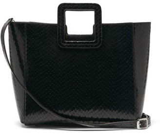 STAUD Shirley Snakeskin-effect Leather Tote Bag - Black