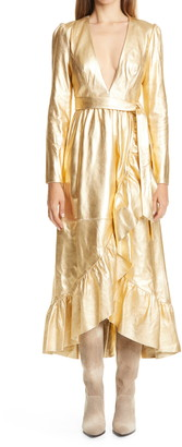 Zimmermann Ladybeetle Long Sleeve Metallic Leather Faux Wrap Midi Dress