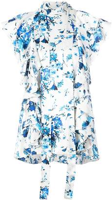 ADAM by Adam Lippes floral-print ruffled tie-neck top