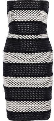 Black Halo Eve By Laurel Berman Sasha Strapless Woven Faux Leather-appliqued Stretch-knit Dress