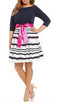 Jessica Howard Plus Belted Striped Party Dress