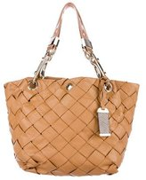 Jimmy Choo Snakeskin-Accented Woven Leather Tote