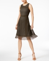 Alfani Petite Mesh Fit & Flare Dress, Created for Macy's