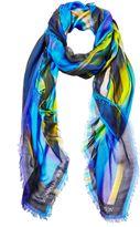 Matthew Williamson Blue Calypsonian Sunset Modal Cashmere Scarf