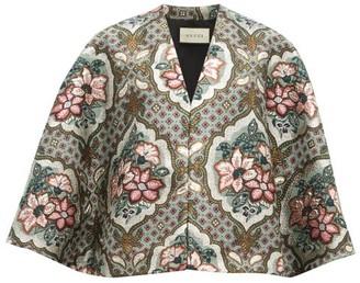 Gucci Floral-brocade Cape - Grey