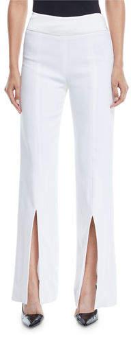 Jonathan Simkhai Satin-Combo Front-Slit Pants