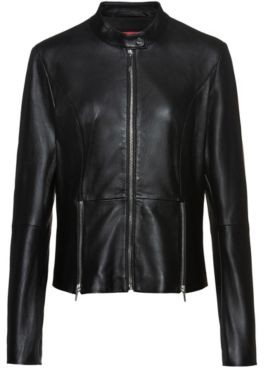 HUGO Regular-fit jacket in lamb leather with feature zips