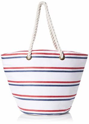 Joules Womens Summer Bag Canvas and Beach Tote Bag Multicolour (Cream Red Blue Stripe)