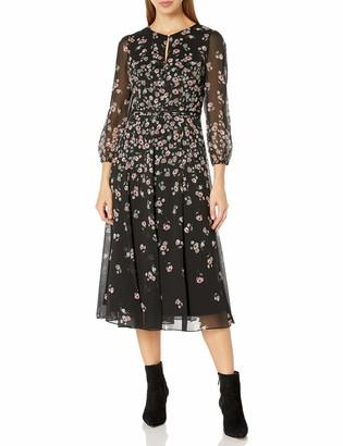 Karl Lagerfeld Paris Women's Floral Printed Chiffon Maxi Dress