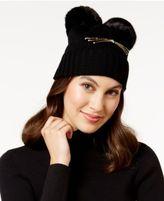 Kate Spade Cat Faux Fur Pom Pom Beanie