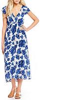 Billabong Don t Mess Floral Printed Lace-Up Back Midi Dress