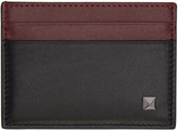 Valentino Black and Burgundy Single Rockstud Card Holder