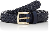 Barneys New York Men's Woven Leather Belt-NAVY