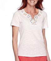 Sag Harbor Bahama Mama Short-Sleeve Embroidery Top