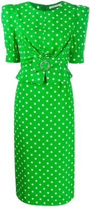 Alessandra Rich Polka Dot Print Midi Dress