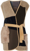 MiH Jeans Lana Reversible Patchwork Shearling Gilet - Brown