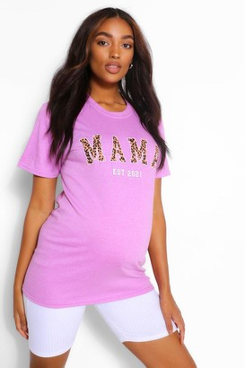 boohoo Maternity Leopard Print Mama Est 2021 Tshirt