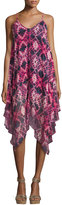 Romeo & Juliet Couture Tie-Dye Trapeze Dress, Magenta/Blue
