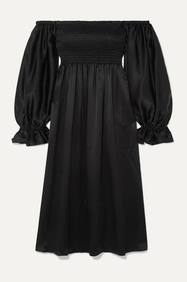 Sleeper Atlanta Off-the-shoulder Shirred Silk-satin Midi Dress - Black