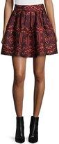 Alice + Olivia Stora Pleated Tribal-Print Skirt, Red/Orange