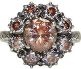 Bottega Veneta Silver Flowers Zircon Ring